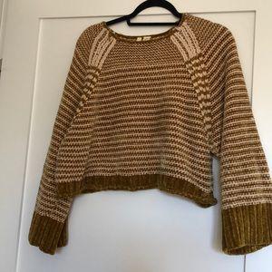 Anthropologie mustard striped crop sweater